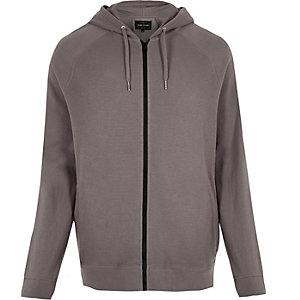 Grey ribbed hoodie