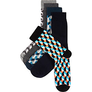 Grey geometric socks 5 pack