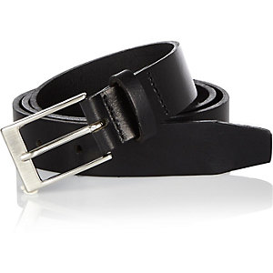 Black slim leather belt