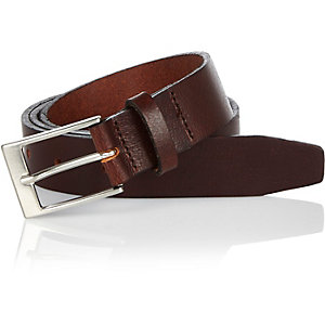 Brown slim leather belt