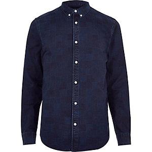 Dark blue wash checked denim shirt