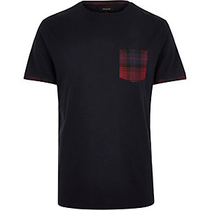 Navy check pocket t-shirt