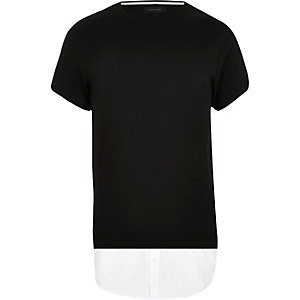 Black longline mock shirt t-shirt