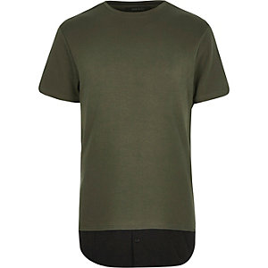 Green mock shirt longline t-shirt