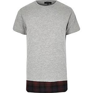 Grey checked hem longline t-shirt