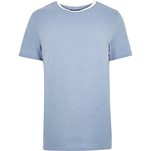 Blue neck trim t-shirt