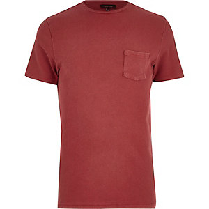 Red textured crew neck t-shirt