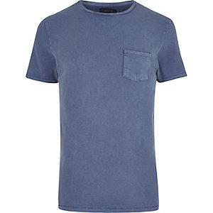 Dark blue textured crew neck t-shirt