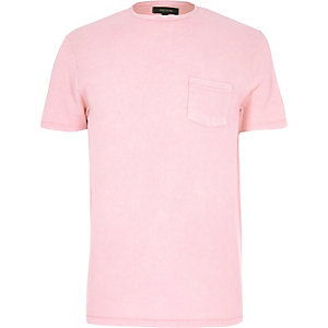 Pink textured crew neck t-shirt