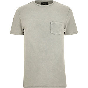 Grey textured crew neck t-shirt