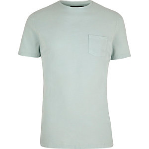 Green textured crew neck t-shirt