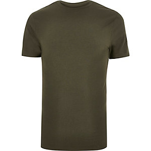 Khaki green muscle fit t-shirt