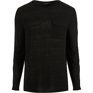 Black utility pocket crew neck top
