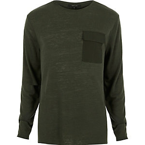 Green utility pocket crew neck top