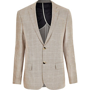 Ecru check slim blazer