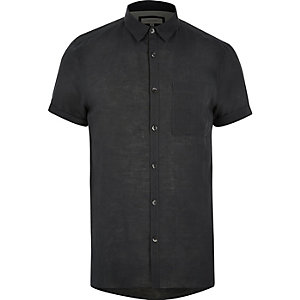 Grey linen-rich short sleeve shirt