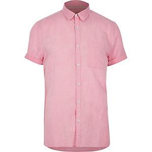 Pink linen-rich  short sleeve shirt