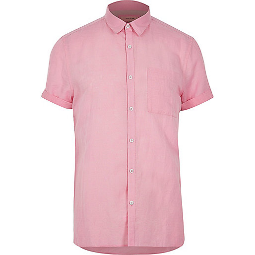 Pink linen-rich  short sleeve shirt