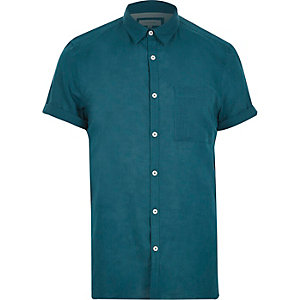 Green linen-rich short sleeve shirt