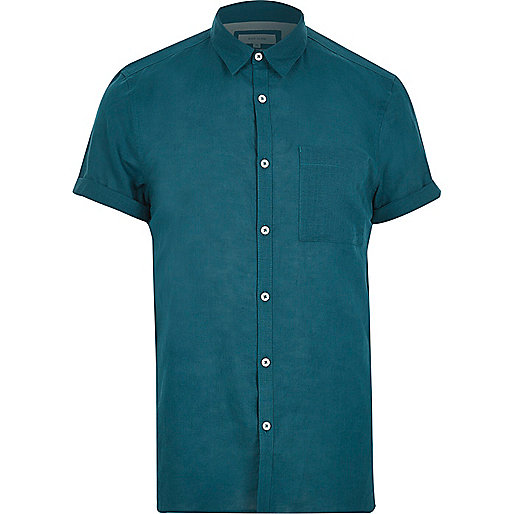 Blue linen-rich short sleeve shirt