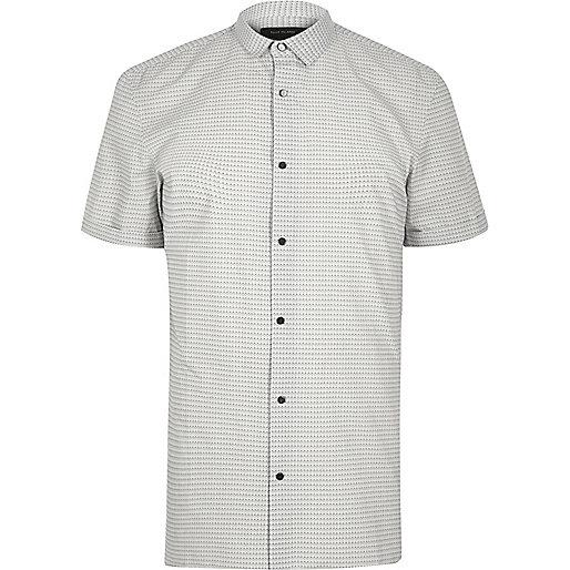 Schmales, weißes T-Shirt mit Print