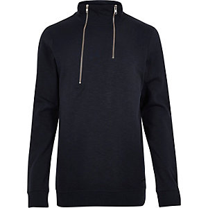Navy Only & Sons high zip neck jumper
