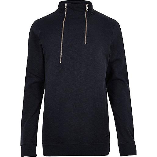 Navy Only & Sons high zip neck jumper