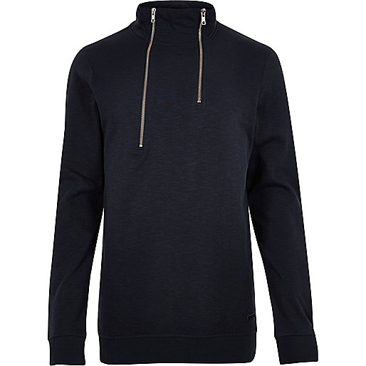Navy Only & Sons high zip neck sweater