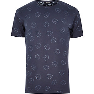 Navy Only & Sons flower print t-shirt