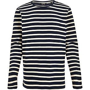 Navy Only & Sons stripe sweatshirt