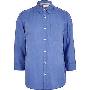 Blue linen-rich shirt