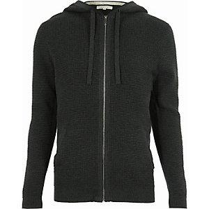Dark grey textured hoodie