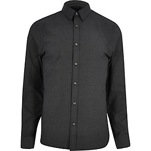 Black ditsy print slim shirt