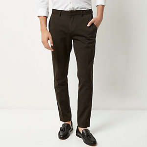 Khaki skinny fit trousers