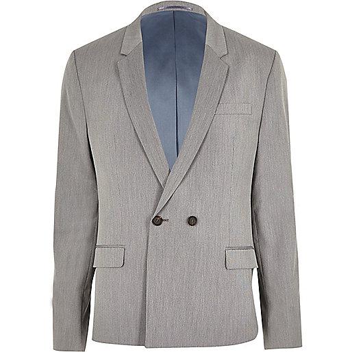 Graue, zweireihige Anzugsjacke