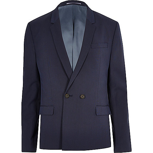 Dark blue double breasted skinny suit jacket