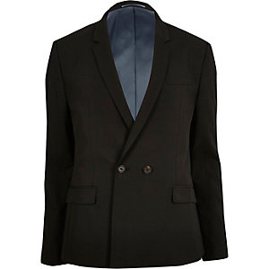 Black double breasted skinny suit jacket