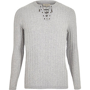 Grey lace-up slim fit top