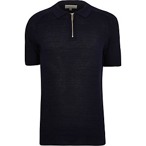 Navy zip-up polo shirt