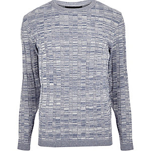 Light blue wide ribbed slim fit sweater