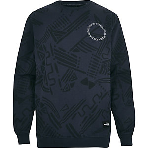 Navy RAREGOODS.CO badge print sweatshirt