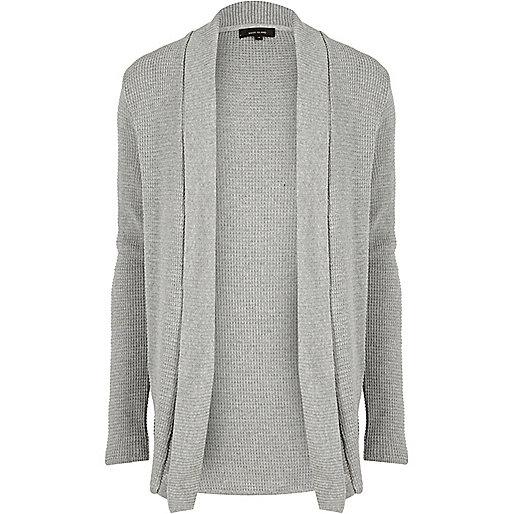 Cardigan en maille gaufrée grise