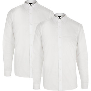 White slim fit shirt pack