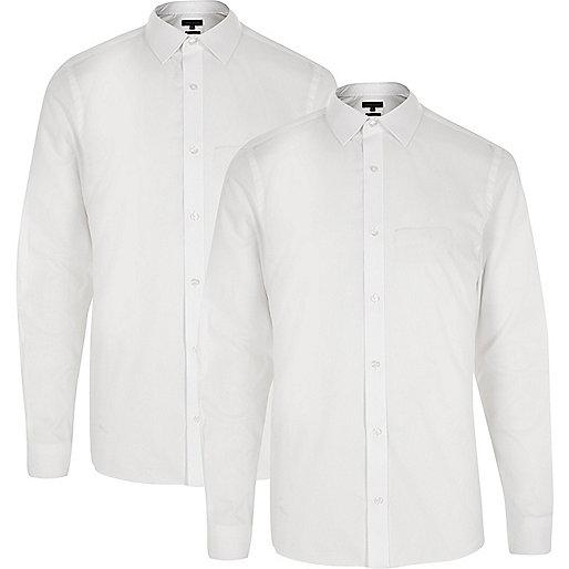 Weiße Slim Fit Hemden, Multipack