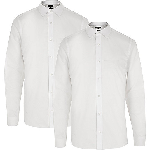 White formal slim fit shirt multipack