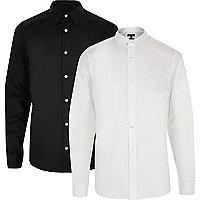 Lot de chemises habillées cintrées l'une noire, l'autre blanche