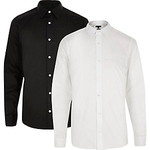 White and black slim fit shirt pack