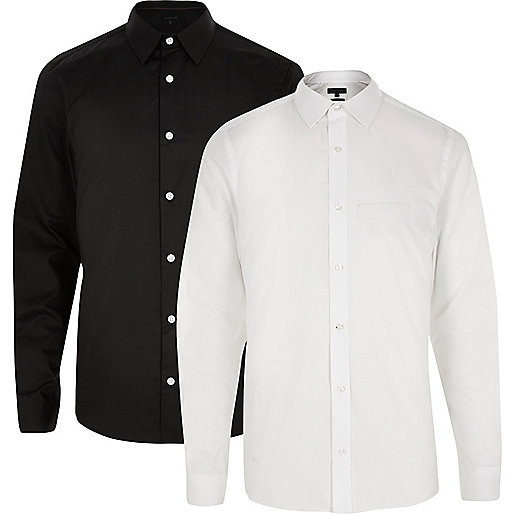 White and black slim fit shirt multipack