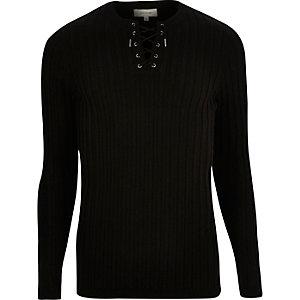 Black lace-up slim fit top