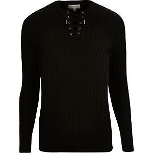 Black lace-up slim fit top